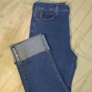 NYDJ, Capris, Embellished Cuffs, High-Rise Jeans